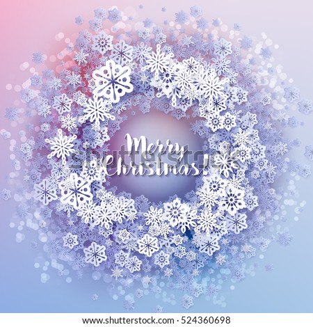 Round snow frame with Merry Christmas text.. Winter frame made of snowflakes of various size. Circle shape. New Year, Christmas blue and purple abstract background.
