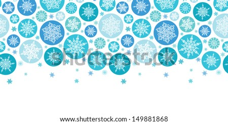 Round Snowflakes Horizontal Seamless Pattern Background - stock vector