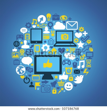 Round social media concept - vector illustration with technology icons - stock vector