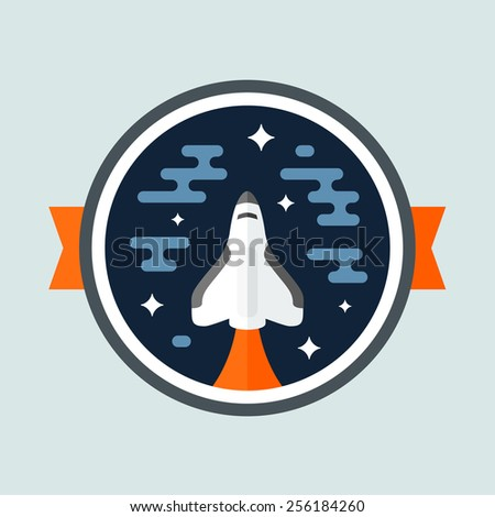 Round space scene badge with shuttle rocket - stock vector