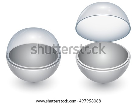 Round sphere capsule with glass cover in closed and opened state vector template isolated on white background. Layered EPS10 file with transparency and easy editable background.