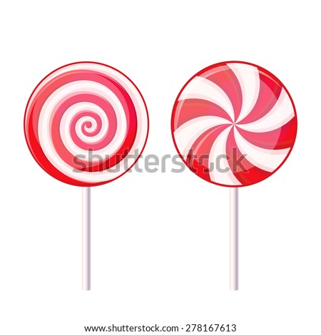 Round Spiral Candy Lollipop. Red and White on Stick. Vector