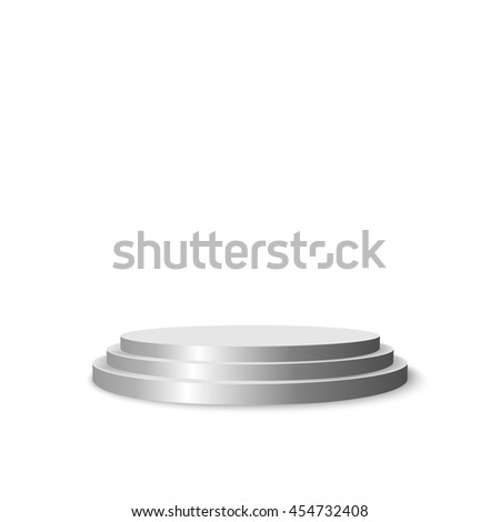 Round stage podium for exhibition, presentation circle pedestal isolated on white background. Vector illustration. - stock vector