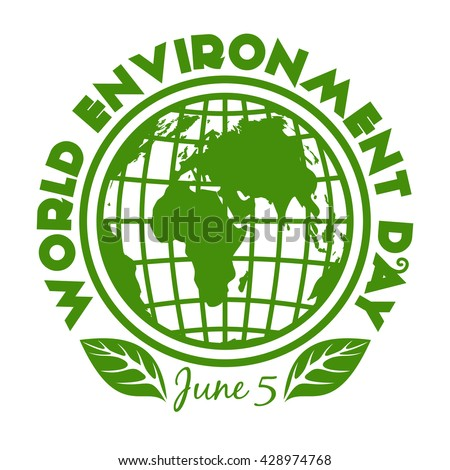 Round stamp for World Environment Day. June 5. Environment Day logo design isolated on white background. Vector illustration - stock vector