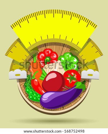 Round sticker with ripe vegetables on a wooden board and the measuring tape in the form of a flag - stock vector