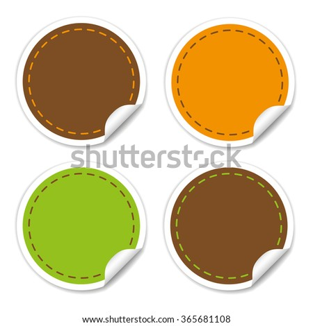 Round Stickers in different colors for write texts inside - stock vector