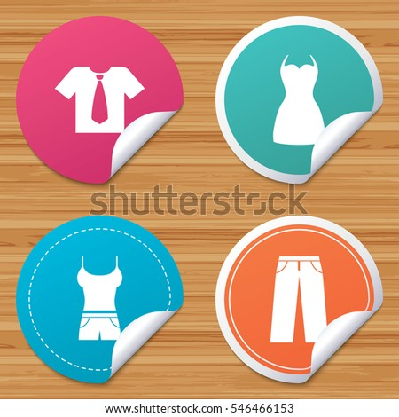Round stickers or website banners clothes icons t shirt with business tie and