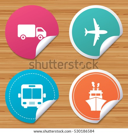 Round stickers or website banners. Transport icons. Truck, Airplane, Public bus and Ship signs. Shipping delivery symbol. Air mail delivery sign. Circle badges with bended corner. Vector