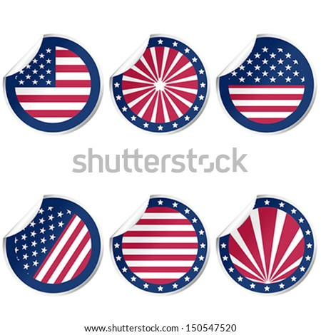 Round stickers with USA flag - stock vector