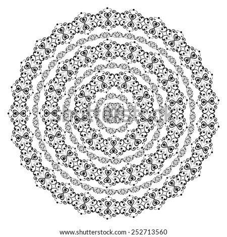 Round swirly design element isolated on white background. Circle pattern borders in black colors. Vector illustration. Could be used for web-design, decoration, etc.  - stock vector