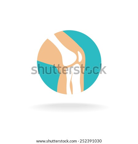Round symbol of knee joint bones for orthopedic purposes. - stock vector