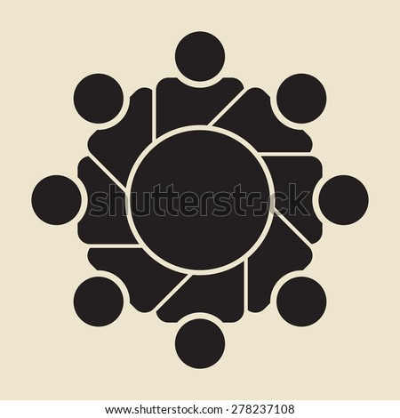 round table meeting, discussion: info graphic design template