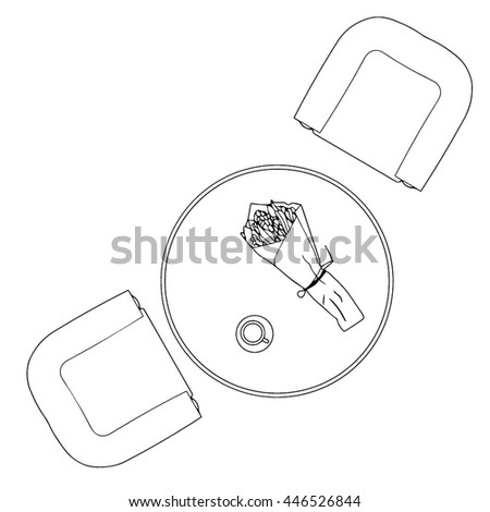98 Circle Table Top View Design Elements Tables Vector Stencils
