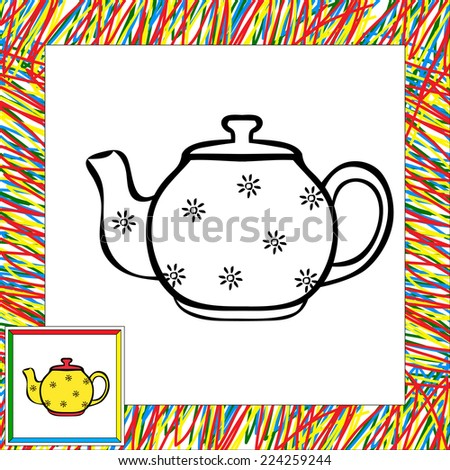 Round teapot coloring book. Vector illustration for children - stock vector
