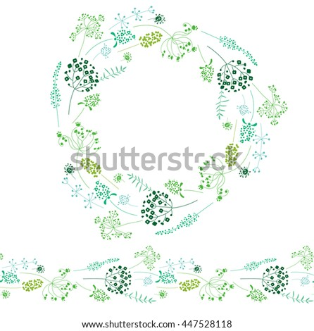 Round template and seamless horizontal texture with stylized herbs and plants.  Elegant silhouette. Template for your design, floral greeting cards, announcements, posters.