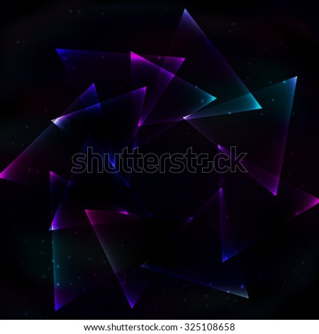 Round the vortex of soapy shimmering in space triangles. - stock vector