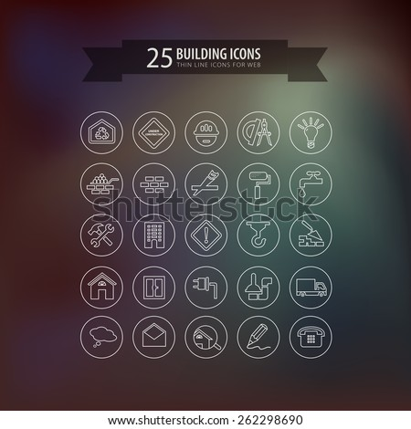 Round think line building icons for web. Vector illustration - stock vector