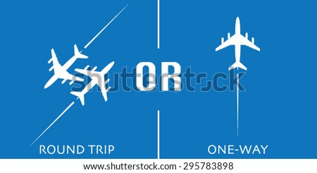 Round Trip or One-Way Airplane Vector Design Concept - stock vector