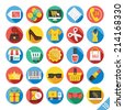 Round vector flat icons set with long shadow for web and mobile apps. Colorful modern design illustrations,objects,concepts,ecommerce icons, clothes icons, trading,marketing,shopping, business icons.  - stock vector