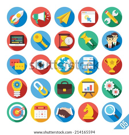 Round vector flat icons set with long shadow for web and mobile apps. Colorful modern design illustrations,elements,concepts of web development, seo and hosting business, team management, office work. - stock vector