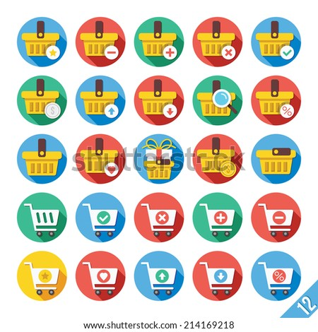 Round vector flat icons set with long shadow for web and mobile apps. Colorful modern design illustrations, concepts.Shopping cart, basket icons symbols for web interface.Isolated on white background. - stock vector