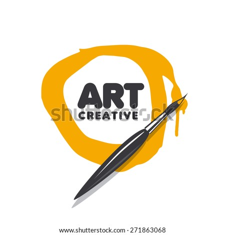 round vector logo brush and paint - stock vector