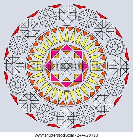 Round vector ornament Mandala. Traditional orient symbol. Print