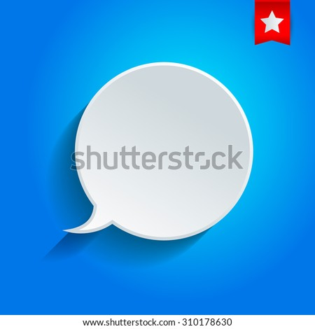 Round vector speech Bubble on the blue background.   - stock vector