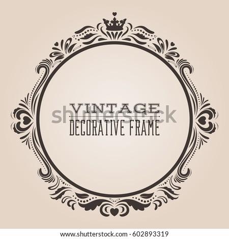 round vintage ornate border frame victorian stock vector
