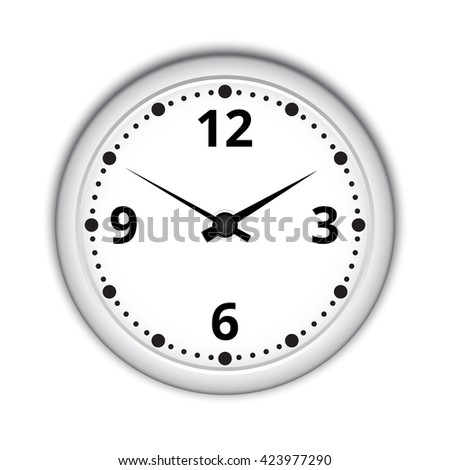 Round wall clock on white background. - stock vector