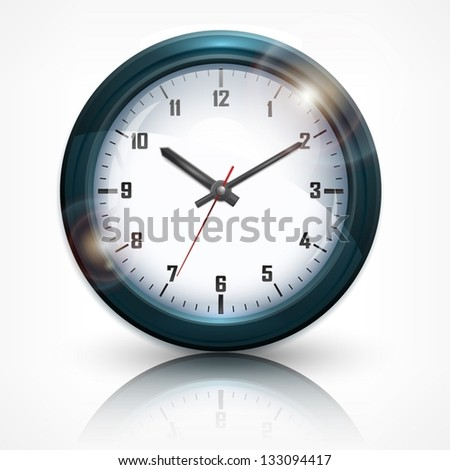 Round wall clock with arabic numerals on white background. Vector Illustration.
