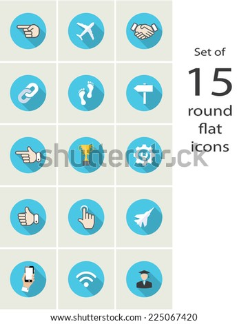 round web icons. vector design elements set. eps10 - stock vector