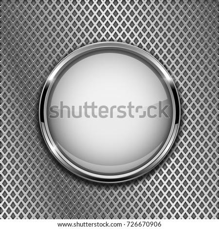 Round White Button Chrome Frame On Stock Vector (2018) 726670906 ...