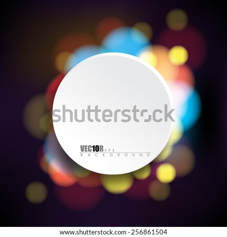 round white frame with night lights bokeh background eps10 vector illustration - stock vector