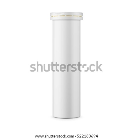 Round white glossy aluminum bottle with cap for effervescent or carbon tablets, pills, vitamins. Realistic packaging vector mockup template. Side view