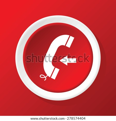 Round white icon with image of phone receiver and left arrow, on red background - stock vector