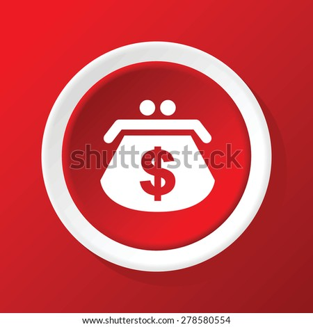Round white icon with image of purse with dollar symbol, on red background - stock vector