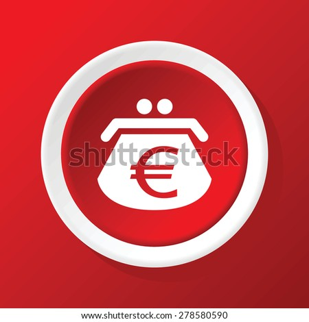 Round white icon with image of purse with euro symbol, on red background - stock vector