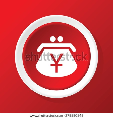 Round white icon with image of purse with yen symbol, on red background - stock vector