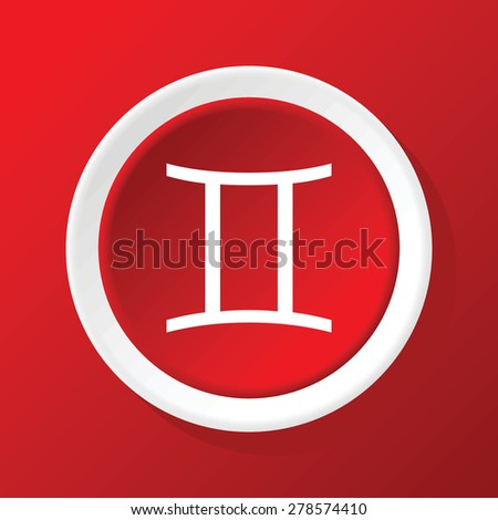 Round white icon with zodiac symbol gemini, on red background - stock vector