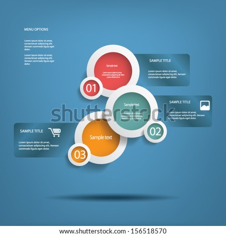 Round white infographic elements with various icons suitable for infographics, web layout, presentations, etc. - stock vector