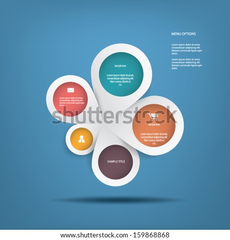 Round white infographics connected in middle suitable for business infographics, website development, business presentations, etc. eps10 vector - stock vector