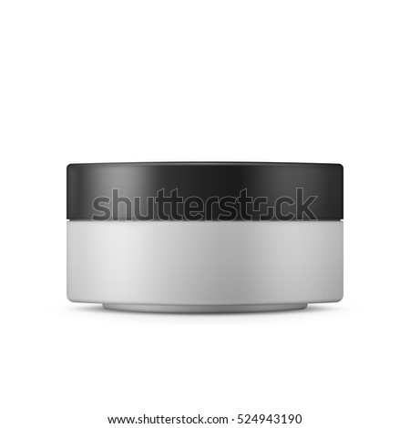 Round white matte plastic jar with black lid for cosmetics - body cream, butter, scrub, bath salt, gel, skin care, powder. Realistic packaging mockup template. Side view.  Vector illustration.