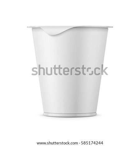 Round white plastic pot with matte carton wrap and foil cover for dairy products, yogurt, cream, dessert. 290 g. Realistic packaging mockup template. Front view. Vector illustration.