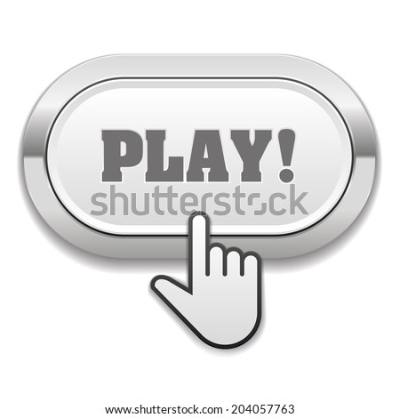 Round white play button with cursor on white background