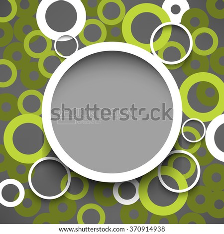 round white round frame with overlapping green circles on gray background - stock vector