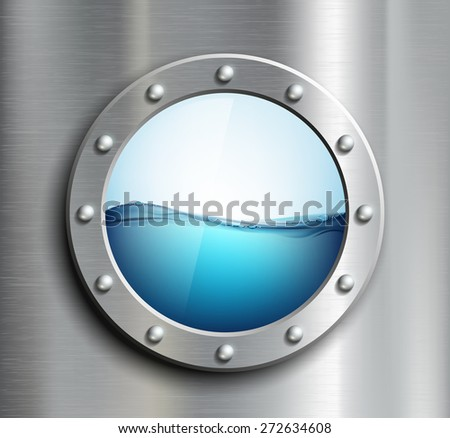 Round window on the ship. Vector image. - stock vector
