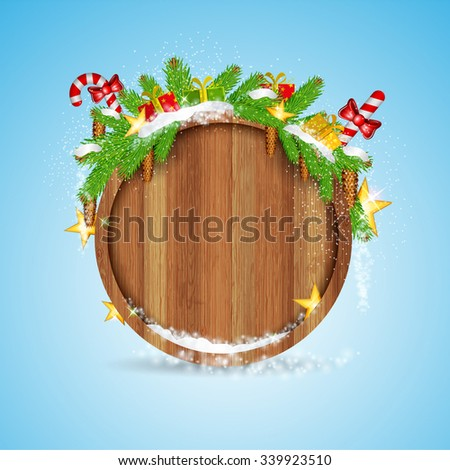 round wood border with snowy fir tree branch cones and presents on blue background  - stock vector