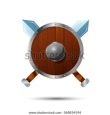 Round wooden shield with crossed swords cartoon icon - stock vector