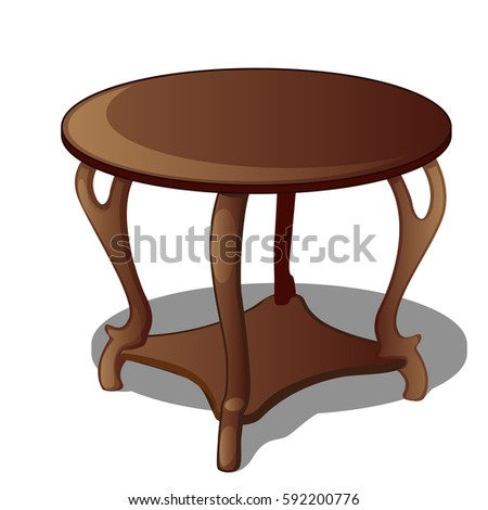 Round Wooden Vintage Table Isolated On A White Background. Cartoon Vector  Close Up Illustration